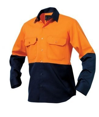 KingGee Hi-Vis Spliced Drill Shirt Long Sleeve