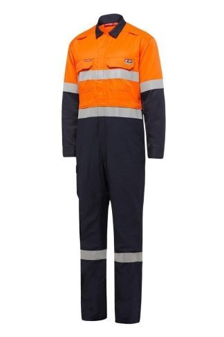 Hard Yakka Shieldtec Fire Retardant Hi-Vis Two Tone Coverall With Tape Zip Front