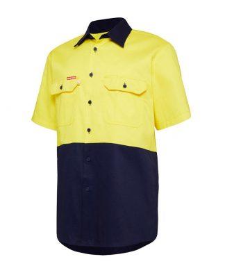 Hard Yakka Foundations Hi-Visibility Two Tone Cotton Drill Shirt Short Sleeve