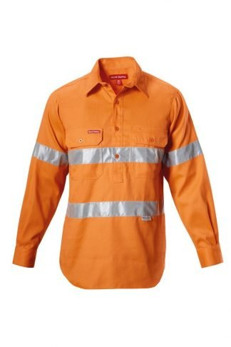 Hard Yakka Foundations Hi-Visibility Closed Front Cotton Drill Shirt With Tape Long Sleeve