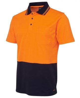JB's wear Polo Hi Vis S/S Cotton Back No Cuff 6NCCS