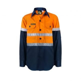 WorkCraft Kids L/S Hi Vis Shirt with Tape WSK125